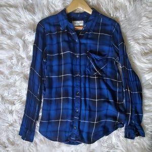 Abercrombie & Fitch Plaid Button Blue Shirt  L